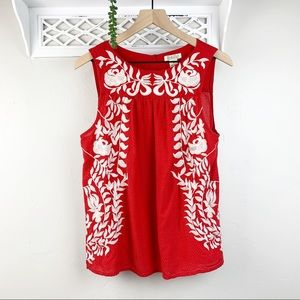 Lucky Brand Red Embroidered Floral Sleeveless Top